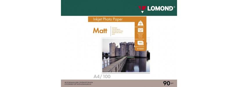 Фотопапір LOMOND A4, 90 Г/М2, 100Ар, односторонній (0102001) Матовий для струменевого друку