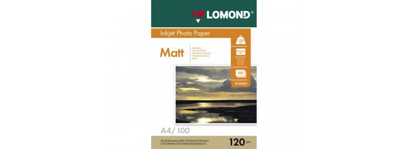 Фотобумага LOMOND A4, 120 Г/М2, 100Л, односторонняя (0102003) Матовая для струйной печати