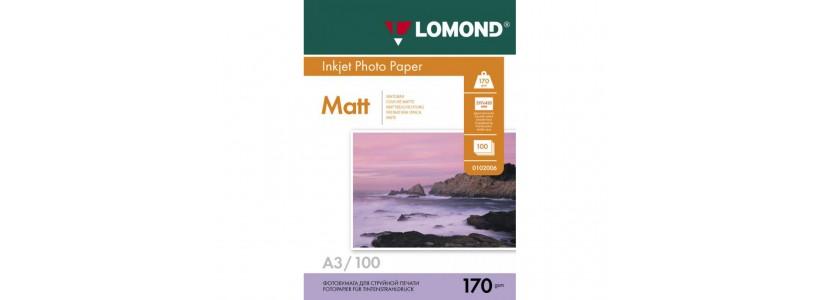 Фотобумага lomond A3, 170 Г/М2, 100Л (0102012) Двухсторонняя матовая/матовая для струйной печати
