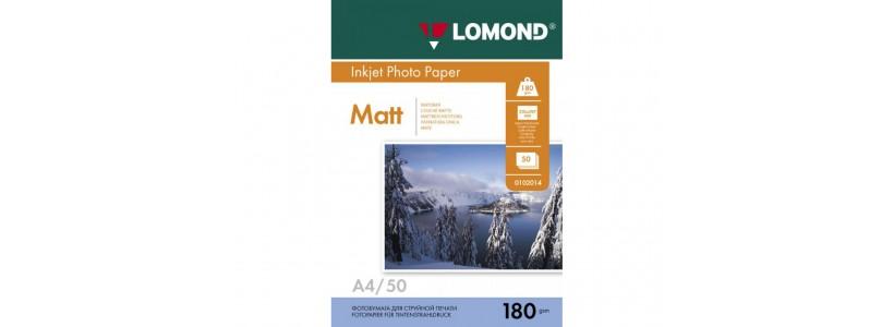 Фотобумага LOMOND A4, 180 Г/М2, 50Л односторонняя (0102014) Матовая для струйной печати