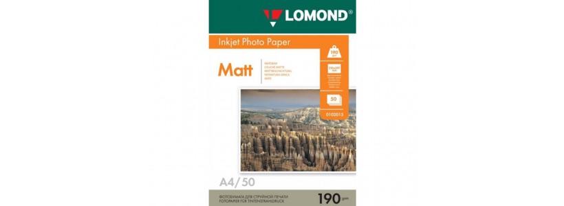 Фотобумага lomond A4, 190 Г/М2, 50Л (0102015) Двухсторонняя матовая/матовая для струйной печати