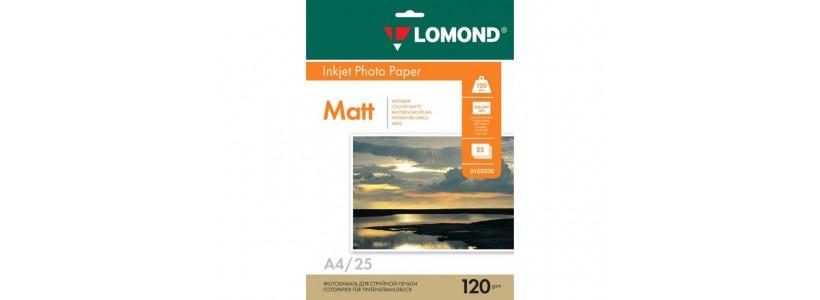 Фотобумага LOMOND A4, 120 Г/М2, 25Л односторонняя (0102030) Матовая для струйной печати