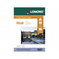 Матовая фотобумага lomond для струйной печати A4, 160 Г/М2, 25Л односторонняя(0102031)