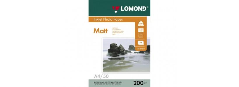 Фотобумага lomond A4, 200 Г/М2, 50Л (0102033) Двухсторонняя матовая/матовая для струйной печати