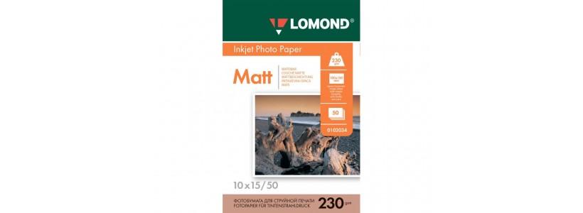 Фотобумага LOMOND 10x15, 230 Г/М2, 50Л односторонняя (0102034) Матовая для струйной печати