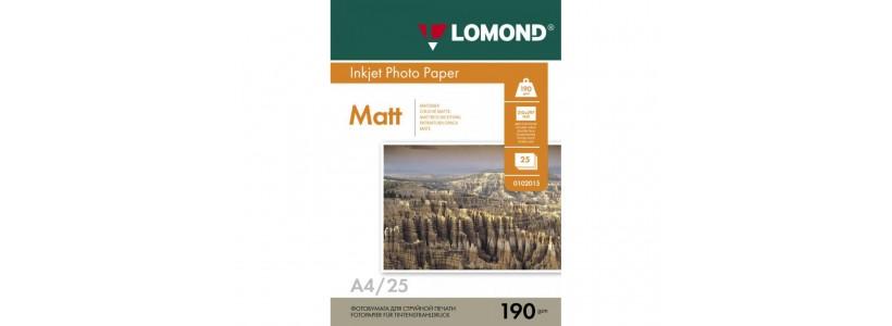 Фотопапір LOMOND A4, 190 Г/М2, 25Ар (0102036) Двосторонній матовий/матовий для струменевого друку