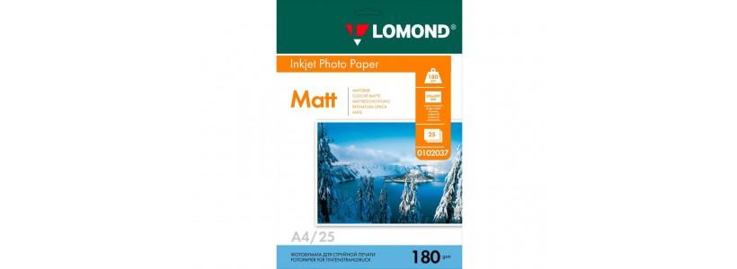 Фотобумага LOMOND A4, 180 Г/М2, 25Л односторонняя (0102037) Матовая для струйной печати