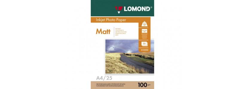 Фотобумага lomond A4, 100 Г/М2, 25Л (0102038) Двухсторонняя матовая/матовая для струйной печати