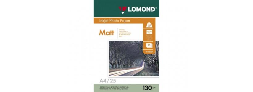 Фотобумага lomond A4, 130 Г/М2, 25Л (0102039) Двухсторонняя матовая/матовая для струйной печати