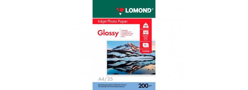 Фотобумага LOMOND A4, 200 Г/М2, 25Л односторонняя (0102046) глянцевая для струйной печати