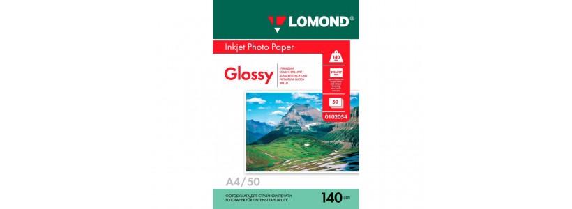 Фотопапір LOMOND A4, 140 Г/М2, 50Ар, односторонній (0102054) глянцевий для струменевого друку