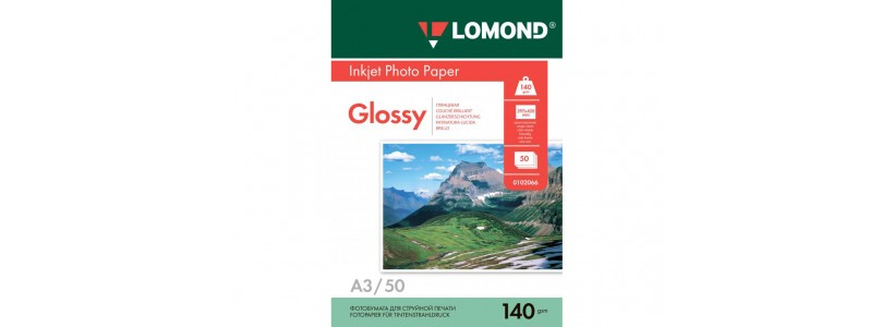 Фотобумага LOMOND А3, 140 Г/М2, 50Л односторонняя (0102066) глянцевая для струйной печати