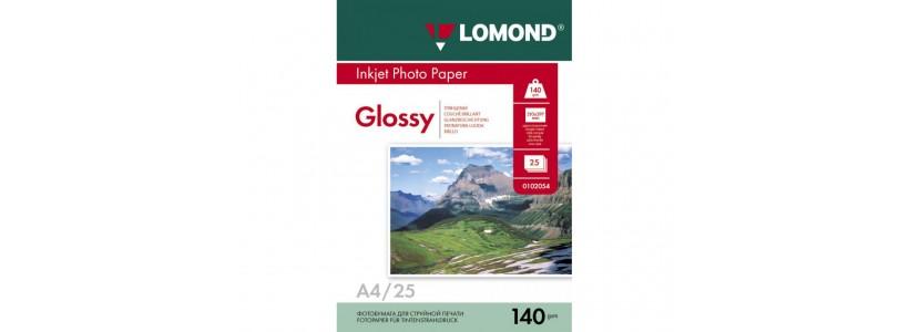 Фотобумага LOMOND A4, 140 Г/М2, 25Л односторонняя (0102076) глянцевая для струйной печати