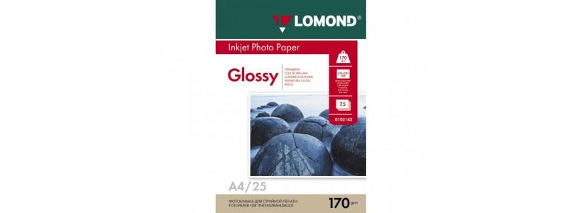 Фотобумага LOMOND A4, 170 Г/М2, 25Л односторонняя (0102143) глянцевая для струйной печати