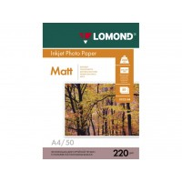Двосторонній матовий/матовий фотопапір lomond для струменевого друку A4, 220 Г/М2, 50Ар, (0102144)