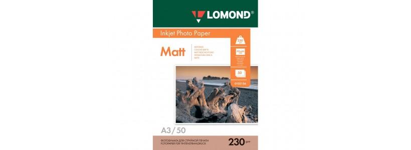 Фотобумага LOMOND A3, 230 Г/М2, 50Л односторонняя (0102156) Матовая для струйной печати