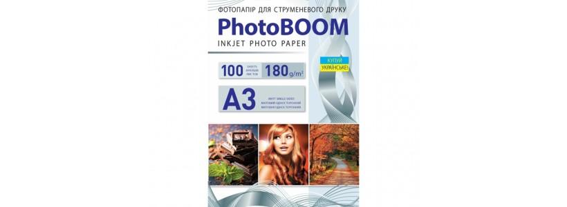 Фотопапір PHOTOBOOM А3, 180 Г/М2, 100Ар односторонній (M1034) матовий для струменевого друку