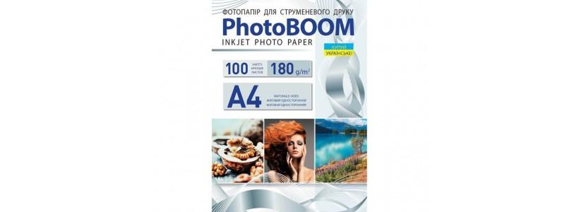 Фотобумага PHOTOBOOM A4, 180 Г/М2, 100Л односторонняя (M1041) матовая для струйной печати