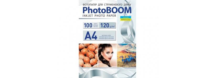Фотопапір PHOTOBOOM A4, 120 Г/М2, 100Ар односторонній (M1049) матовий для струменевого друку